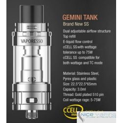 Gemini Ceramic Tank by Vaporesso - 3ml Flow Control